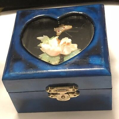 Vintage Blue Wooden Lacquered mother Of Pearl Jewelry Box
