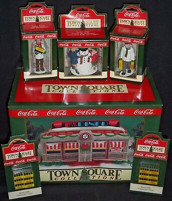 (1992-93) Coca Cola Town Square Collection Diner, Figures & Cases! 6 Item Lot!!!
