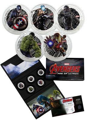 2015 Silver Marvel Avengers Age of Ultron 5 Coin Set