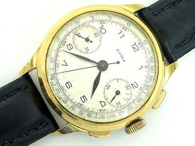 Vintage Watch Valjoux 22 Cyma Chronograph Swiss Made Gold Plated Rarity Serviced