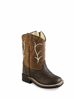 1c41c6f5074 Old West Brown Toddler Boys Side Zip Cowboy Western Boots
