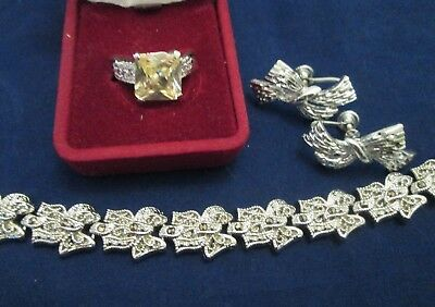 Vintage Rhinestone Jewelry Lot Marcasite Bracelet Earrings Unique Ring Estate