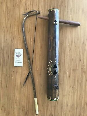 "Authentic Apache Craft Apache fiddle length 19.5"" top 2.5"" bottom 2.2"""