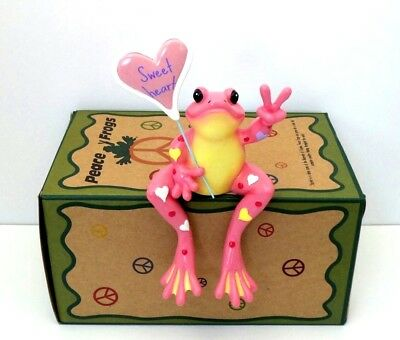 Sweetheart Frog Shelf Sitter Peace Frogs Valentine's Day Retired Collectible