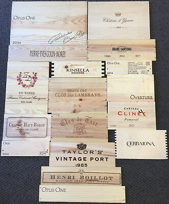 17 Wooden Wine Box End Panels from Wine Crates for Decoration Rare Wines Lot 11