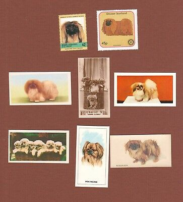 Pekingese dog postage stamps and trade cards set of 8