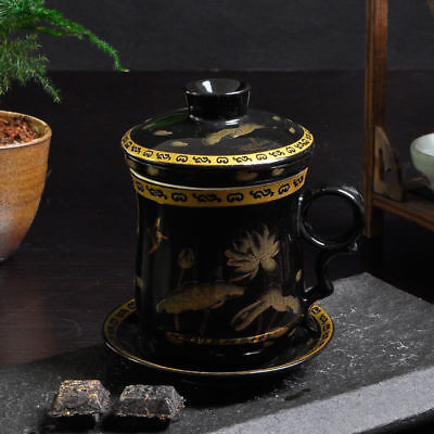 Creative ceramic cup Filter tea cup Water cup with lid Black Lotus Cup 300cc s