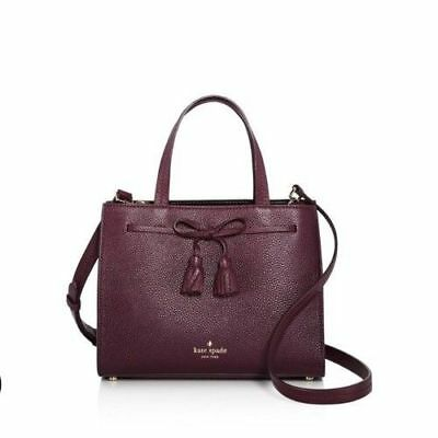 86666b4d71a3 Nwt Kate Spade Hayes Street Isobel Deep Plum Leather Small Satchel Handbag