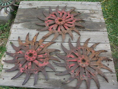 "(3) IH Rotary Hoe Wheel Flower Yard Garden Art Decor SteamPunk 20"" broken hub"