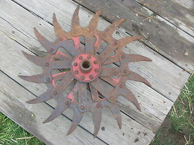"IH Spiked Rotary Hoe Wheel Flower Garden Wall Art SteamPunk 20"" dia / 6"" hub"