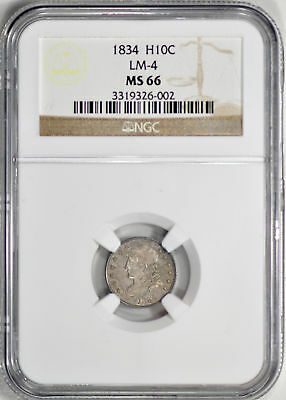 1834 Capped Bust H10C Ngc Ms 66