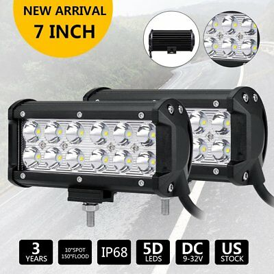 Pair 7''inch 72W Led Work Light Bar Spot Fog Suv Boat Driving Lamp Offroad 4WD
