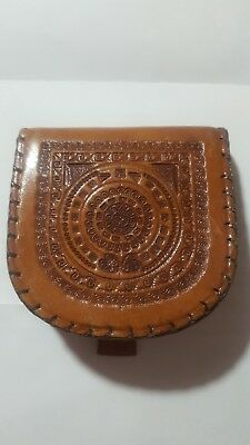 Vintage Leather Coin & Bill Purse - Hoof Style Hand Tooled Made In Mexico