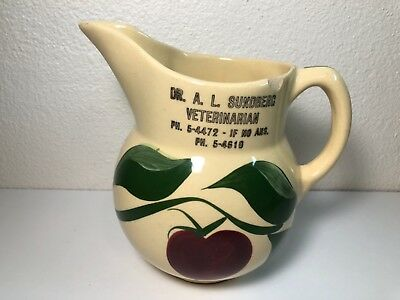 Watt Pottery #15 3-Leaf Apple Pitcher Advertising DR. A.L. Sundberg Veterinarian