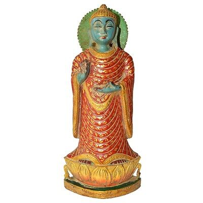 Wooden Antique Buddha Standing Statue For Home Decor