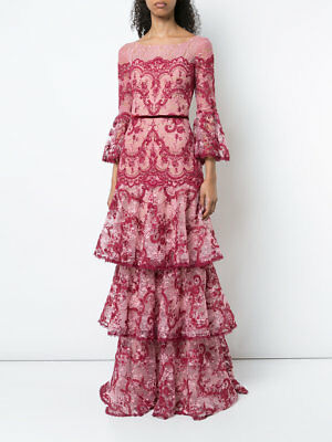 NWT MARCHESA NOTTE Corded Embroidered Lace Evening Gown - $1,195.00 ...