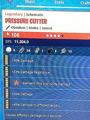 {Pressure Cutter} Power Level 106 Obsidian fortnite save the world (PS4/PC/XBOX)
