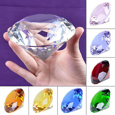9 Colors Decorative Round Crystal Diamond Shaped Paperweight 100mm Wedding Gifts