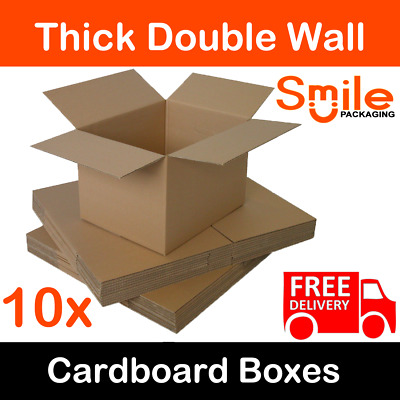 10x Large 18x12x12 Inch Cardboard Boxes Strong Double Wall Removal Moving Boxes