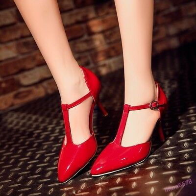 Elegant Women's High Stiletto Heel Shoes Pumps Pointed Toe Patent Leather Casual