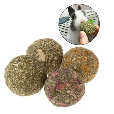 Natural Grass Pet Teeth Grinding Ball Toys For Guniea Pig Rabbit Chinchilla 2pcs