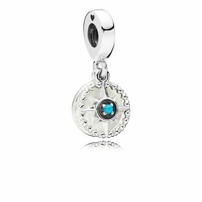 Authentic Pandora Compass Rose Dangle Enamel & Cyan Blue Crystal 797196EN23