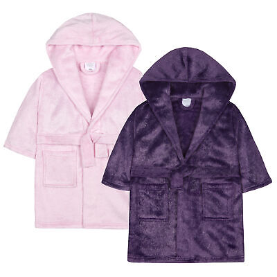 Infant Girls Glitter Fleck Fleece Dressing Gown Robe Soft Pockets Hooded Fluffy