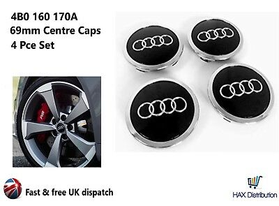Audi Alloy Wheel Centre Caps x4 69mm Black 4B0 601 170A -1 2 3 4 5 6 7 8 Q RS TT