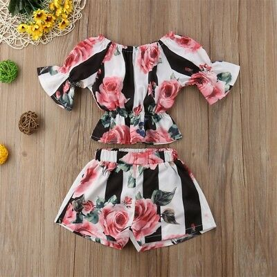 Summer Baby Girl Clothes 2Pcs Outfits Set Floral Tops+Casual Pants Clothes AU