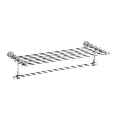 Wall Mounted Double Towel Rail Rack & Rail Square Solid Brass Chrome Bathroom