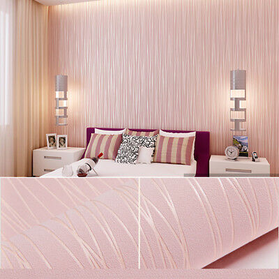 Modern Vintage Wallpaper Rolls 3D Mural Wall Art Paper Stickers Pink Kids Room
