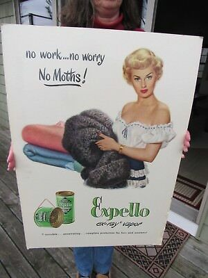 Original Vintage Expello Cardboard Stand Up Store Display Advertising Sign