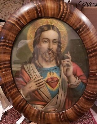 Vintage Oval Sacred Heart Framed Jesus & Mary Picture Print Lithograph