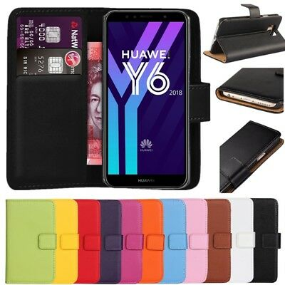 Premium Leather Flip Wallet Case Cover For Huawei Y6 2018
