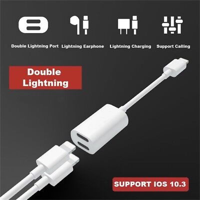 Headphone Adapter Charger Dual Splitter Lightning For iPhone 6 7 8 6s 7s 8s X