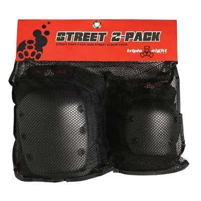 Triple 8 Street Protective Skateboard/BMX Knee Pads Elbow Pads 2 Pack