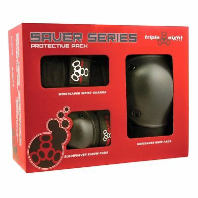 Triple 8 Skateboard/BMX Saver Series Knee Pads Elbow Pads Wrist Guards 3 Pack