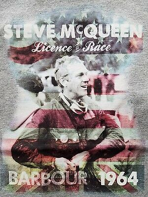 Barbour International Steve McQueen Motorcycle Race  T-Shirt Marl Grey XL NWT