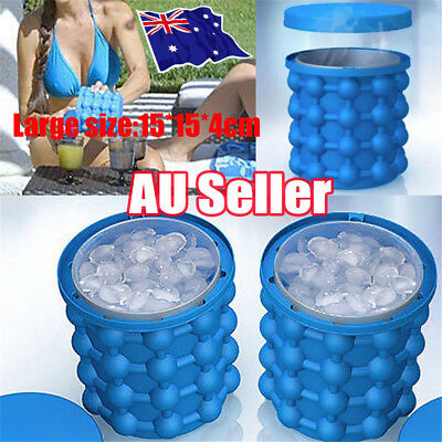 Party Bar Ice Cube Tray Maker Silicone The Revolutionary Space Saving AU Stock B