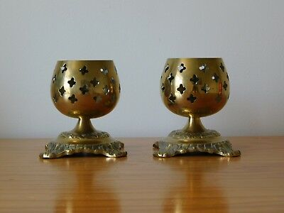 c.20th - Vintage French France Brass Candle Holders - Pair