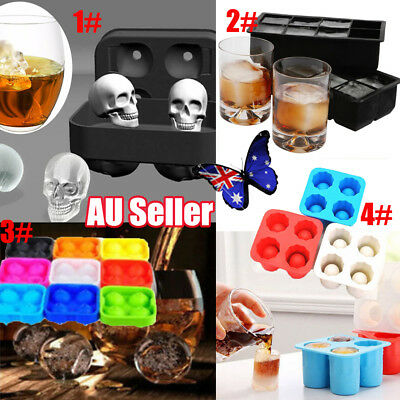 Whiskey Silicon Ice Cube Maker Mold Mould 3D Skull Brick Halloween Party Tray YT