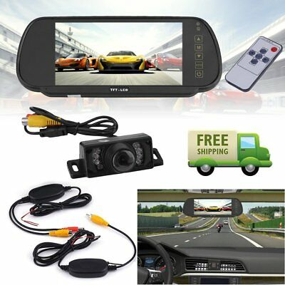 "Wireless Car Truck Bus Rear View Kit 7"" LCD Monitor Mirror+IR Reversing Camera Y"