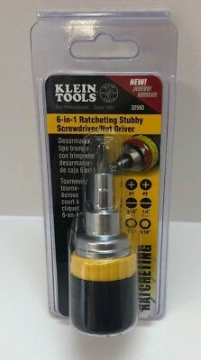 Klein Tools 32593 6-in-1 Ratcheting Stubby Screwdriver