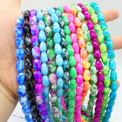 40pcs Double Color Glass Teardrop Loose Spacer Beads Jewelry Making DIY 8x12mm