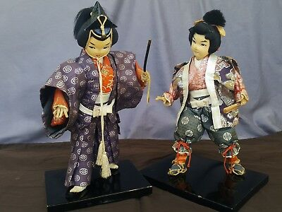 japanese ningyo samurai warrior dolls antique
