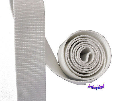50mm REINFORCED WHITE  CANVAS TAPE HEAVY DUTY. BUNTING WEBBING BELTS STRAPS