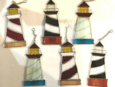 6-Piece Set Stained Glass 6 inch Lighthouse Sun Catchers  [9046-3]