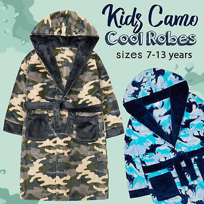 Boys Children's Dinosaur Camo Camouflage Plush Fleece Dressing Gown Robe Hooded