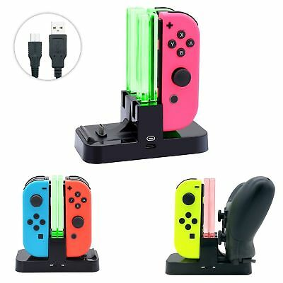 Nintendo Switch Controller Charging Stand 4 in 1 JoyCon Charger Dock Station LED