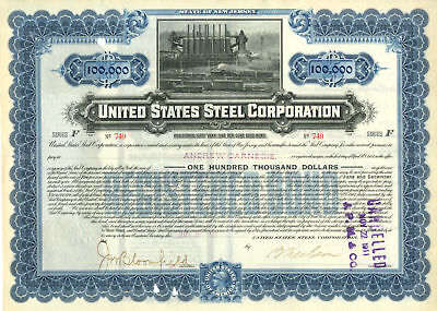 United States Steel Corp $100,000 Gold Bond Issued to Andrew Carnegie (Red - $10